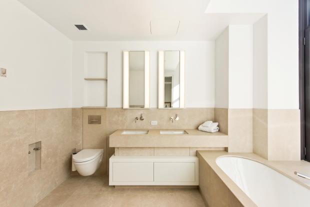 Bathroom twin sink bath tub stone marble Park Avenue South New York