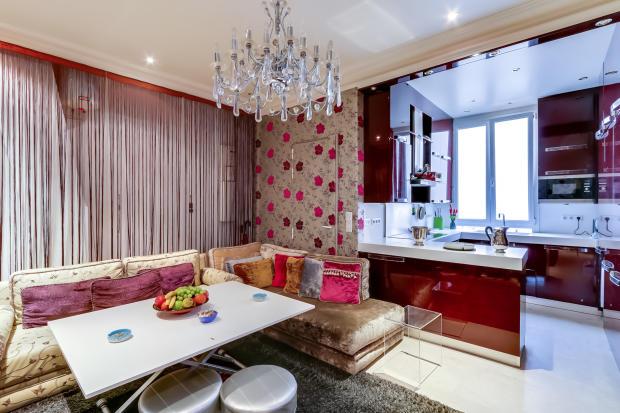 Kitchen living room open plan red marble chandelier Etoile Marceau Paris