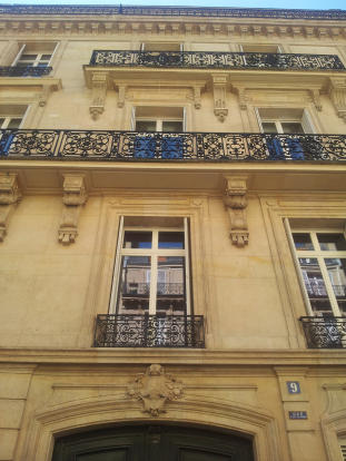 Facade with wrought iron balconies Phalsbourg Paris