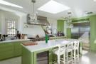 Kitchen green breakfast bar Villa Paula Zona Alta Barcelona