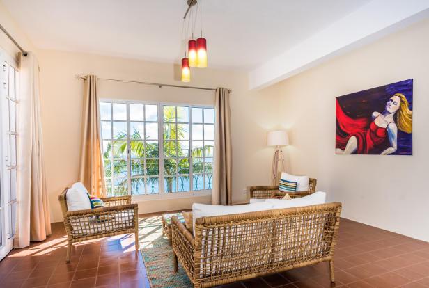 Living room tiled floor Villa Aquarela Madeira Portugal