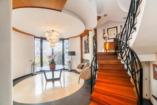 Entrance hallway stairs chandelier Villa Olivia Lloret de Mar Girona