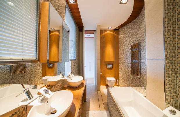 Bathroom twin sink bath tub shower large windows Villa Olivia Lloret de Mar Girona