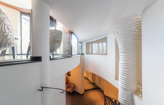 Stairs modern column white Villa Olivia Lloret de Mar Girona