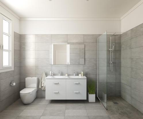 Bathroom twin sink shower walk in stone Balmes Barcelona