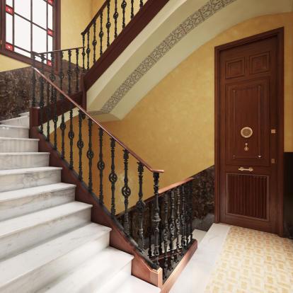 Entrance stone stairs Balmes Barcelona
