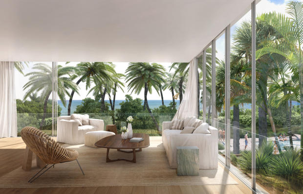 Living room large windows Fasano Shore Club South Beach Miami Florida