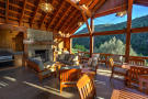 Deck outdoor living dining area fireplace covered Cascabel Ranch Colorado