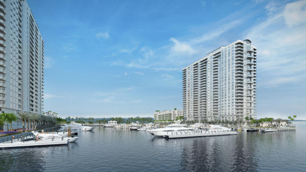External facade bay front Marina Palms Miami Florida