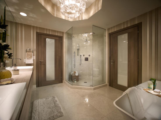 Bathroom twin sink walk in shower bath Marina Palms Miami Florida