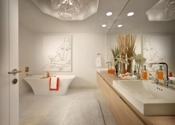 Bathroom master free standing tub bath twin sink shower stone marble Marina Palms Miami Florida