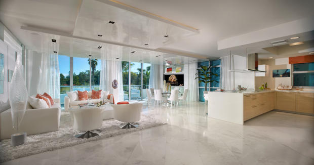 Living room dining breakfast bar kitchen open plan stone floor Marina Palms Miami Florida