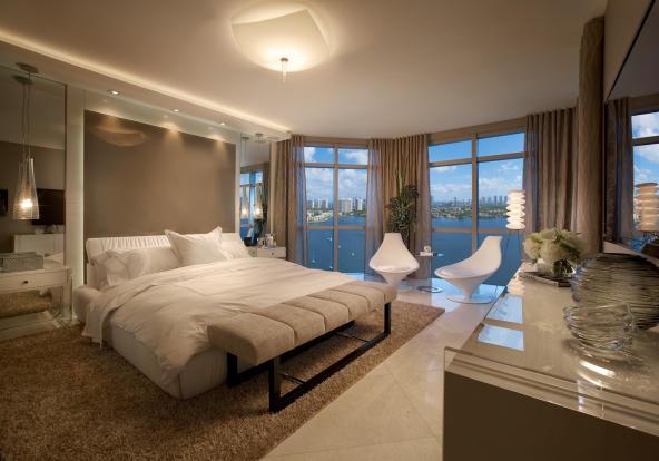 Bedroom master stone floor Marina Palms Miami Florida