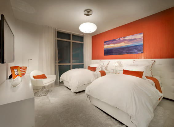 Bedroom guest twin stone floor Marina Palms Miami Florida