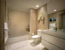 Bathroom shower bath tub tiled floor Marina Palms Miami Florida