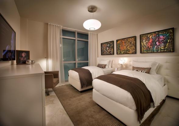 Bedroom twin stone floor Marina Palms Miami Florida