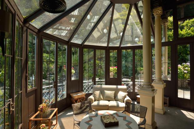 Conservatory gazebo glass french doors Villa on Lake Como The Lakes Italy