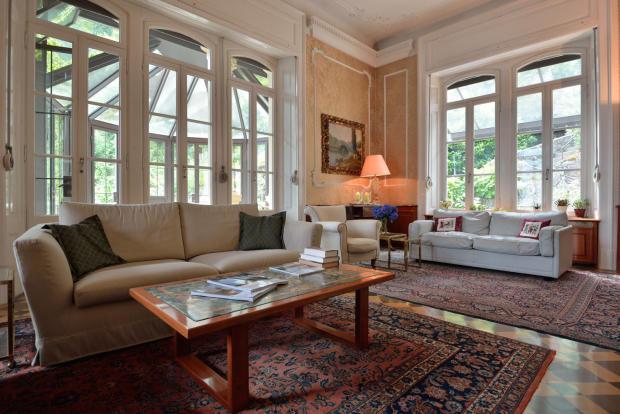 Living room tiled floor cornicing Villa on Lake Como The Lakes Italy