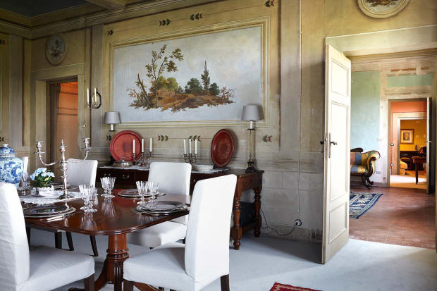 Dining room stone Villa La Quercia Lucca Tuscany
