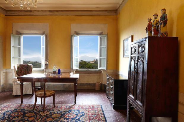 Office tiled floor Villa La Quercia Lucca Tuscany