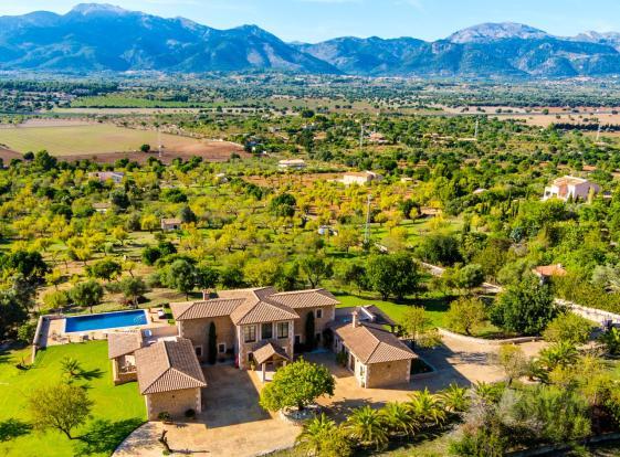 Aerial view swimming pool Mountains Finca Son Romani Mallorca