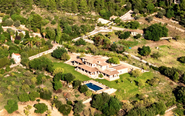 Aerial view swimming pool Finca Son Romani Mallorca
