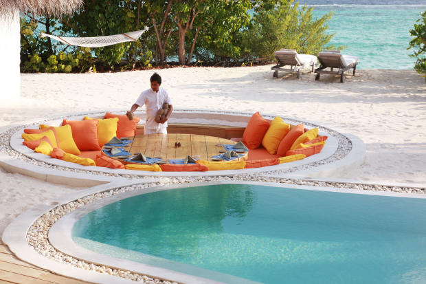 Sunken Dining area outdoor Villa Sunrise at Soneva Fushi Maldives
