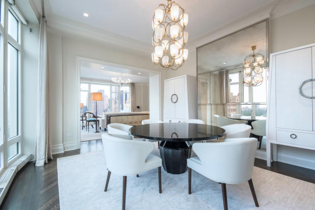 Dining room chandelier stone floor Central Park West New York