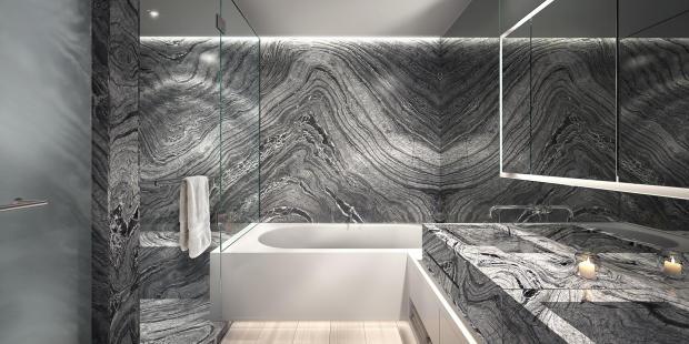 Bathroom marble stone sink bath tub twin Three Hundred Collins Florida Miami
