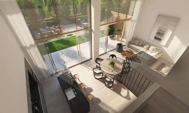 Living room full height ceiling kitchen dining breakfast bar Three Hundred Collins Florida Miami