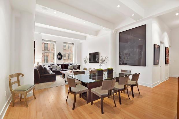 Living room dining wood floor open plan Greenwich Street Apartment New York