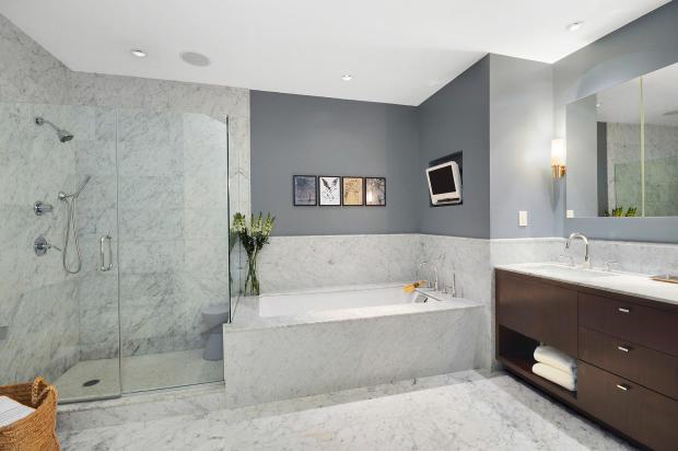 Bathroom shower bath tub marble walk in Greenwich Street Apartment New York