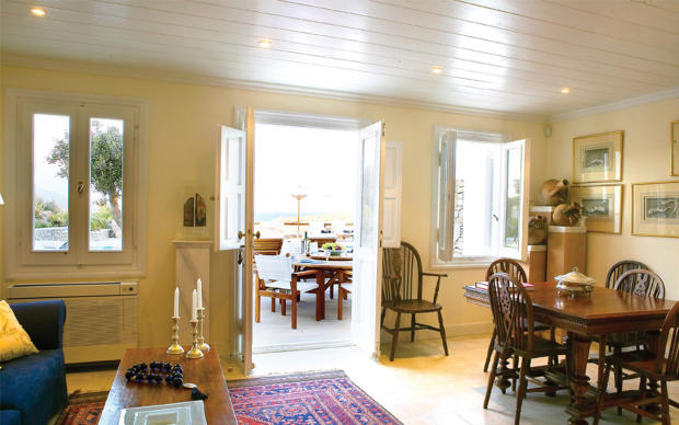 Living dining room french doors Ftelia Mykonos