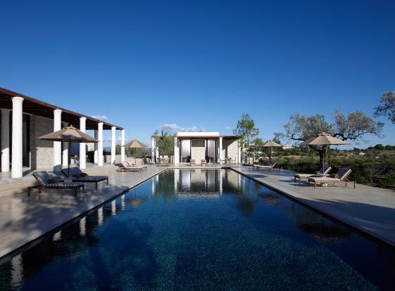 Swimming pool sun terrace Amanzoe Peloponnese