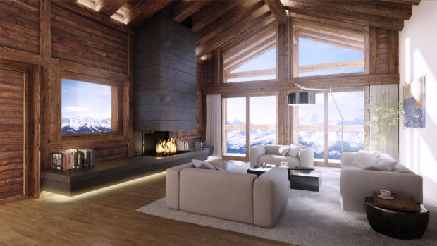 CGI living room interior with fireplace and mountain views at Chalet Cocoon