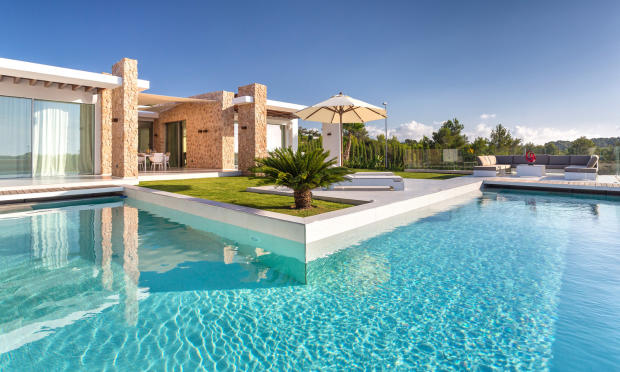 Pool area with terrace and palm tree at Villa Roberta in Ibiza