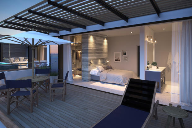 CGI of bedroom from private terrace at St Antoine Mauritius
