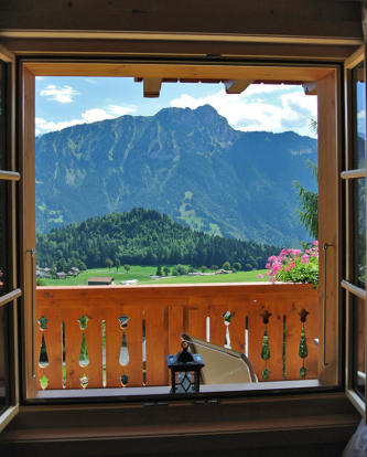 Window view of mountains at Chalet Alina