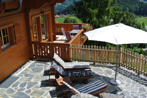 View down onto terrace at Chalet Alina