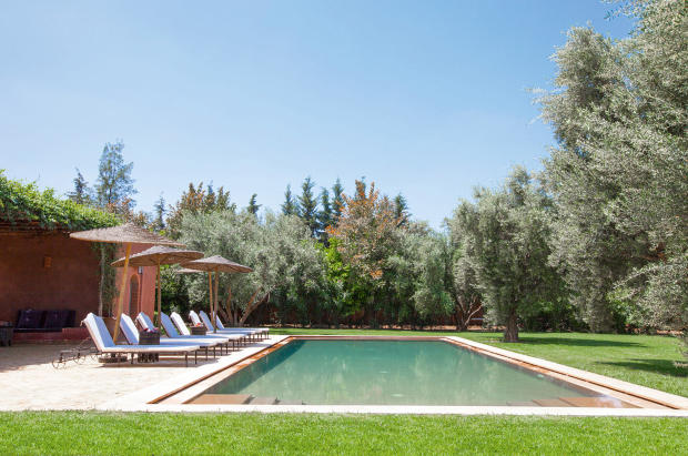 Outdoor pool and private garden with terrace at Villa Jardin