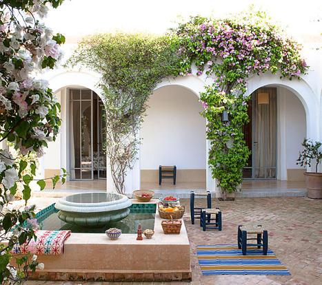 Moroccan style inner courtyard at Villa Jardin