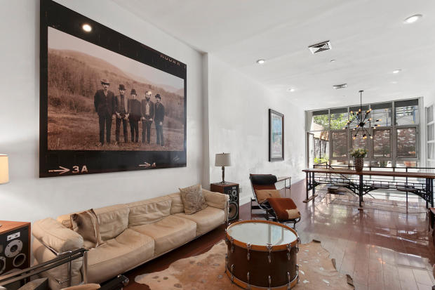 Living room at 550 Grand Street in Brooklyn, New York