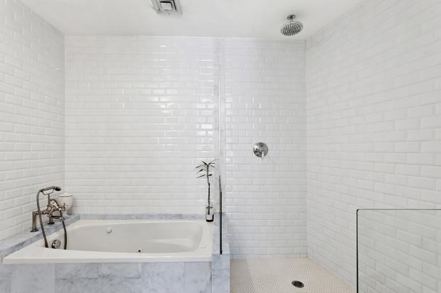 Master bathroom at 550 Grand Street in Brooklyn, New York