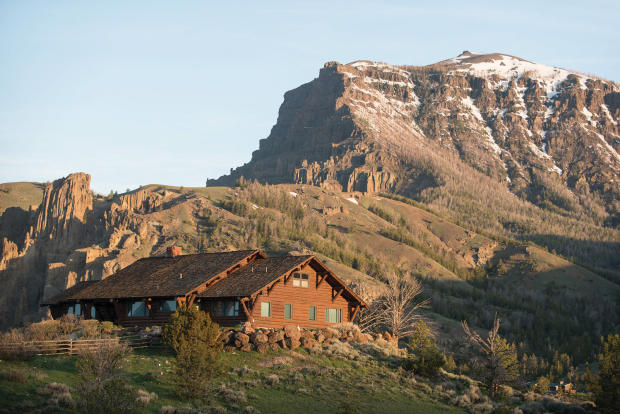 Four Bear Ranch with mountain backdrop