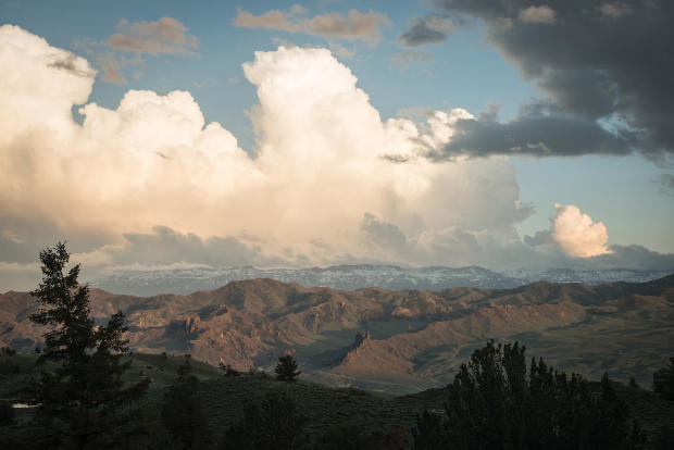 Picturesque mountain view with clouds