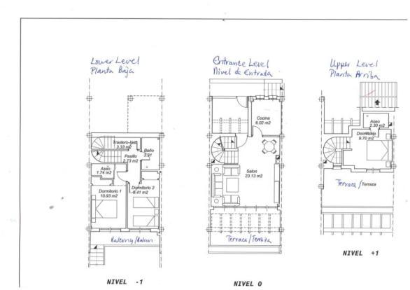 Floor plan, built on 3 levels, terrace each level
