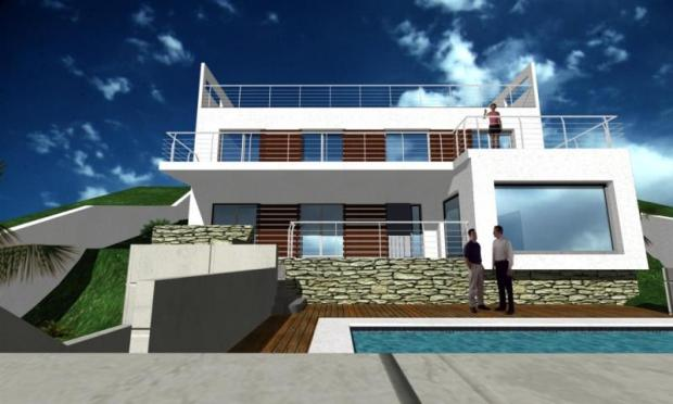 View from road of future villa with pool & sea vie