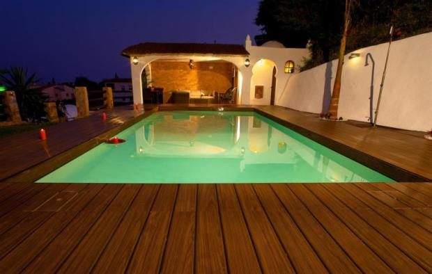 Private pool with large, terrace