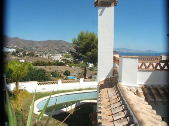 Mountain & sea view over pool in Andalucian villa.