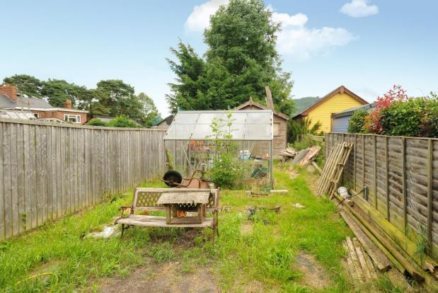 Long garden with greenhouse and shed